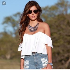 RE:NAMED Revolve white crop top